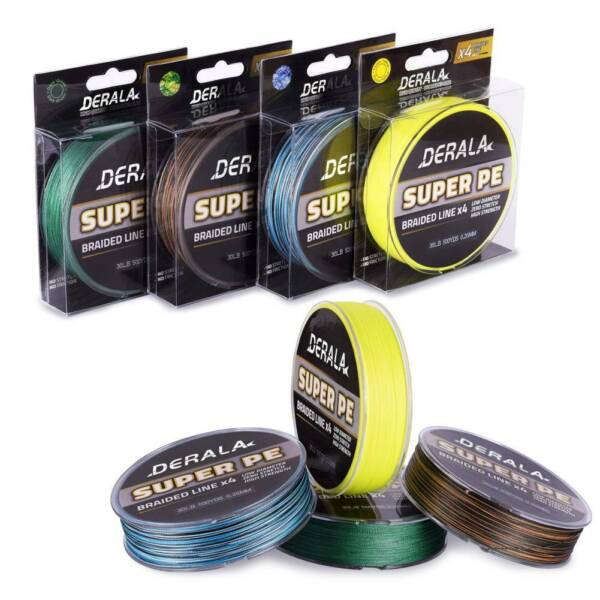 DERALA SUPERPOWER BRAIDED FISHING LINE INCREDIBLE SUPERLINE PE 4 Strands Line