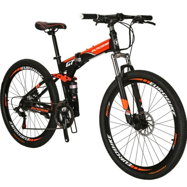 Folding Mountain Bike Full Suspension 27.5quot; 21 Speed Disc Brake Mens Bicycle $299.00