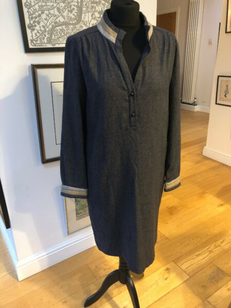 Anne Willi Paris Eighties Style Wool Mix Shirt Dress Size 2 (12)