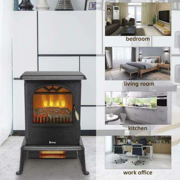 1500W Electric Fireplace Heater Wood Fire Flame Stove 68 95℉ 20 35℃ Adjustable