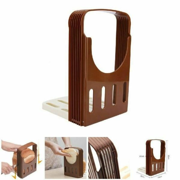 1 Pc Toast Bread Slicer Plastic Fordable Loaf Cutter Rack Cutting Guide Slicing