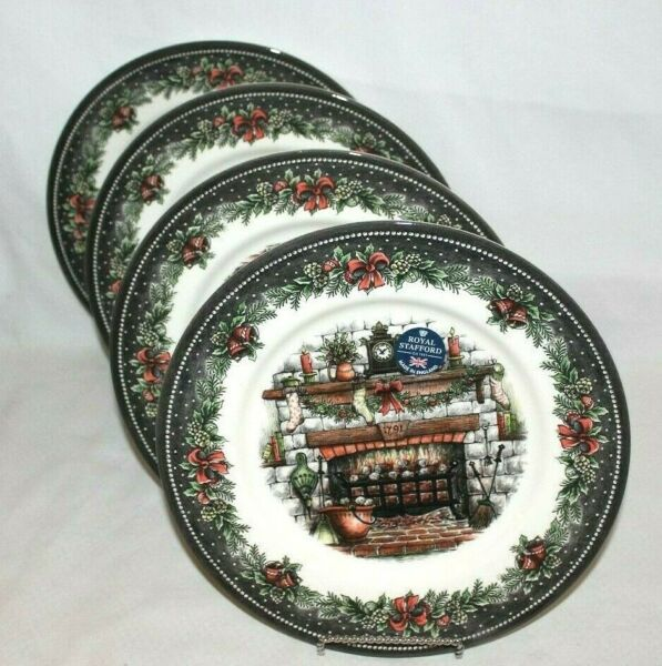 Royal Stafford Country Home Fireplace Christmas Holiday Dinner Plates Set of 4