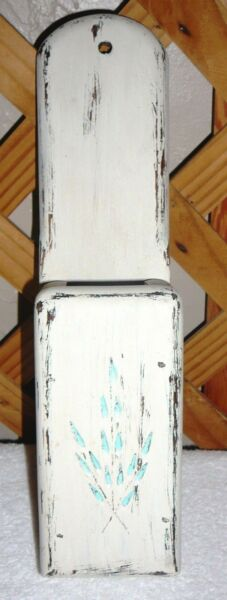 FIREPLACE MATCH HOLDER~Distressed Wood~Handcrafted~Etched~14 Inc