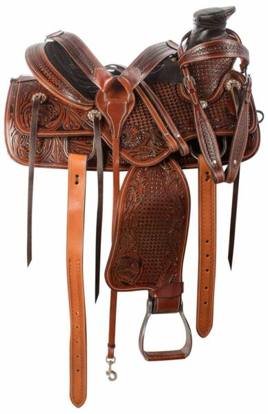 Antique Oil Western Fork Wade Tree Roping Ranch Premium Leather Horse Saddle Set