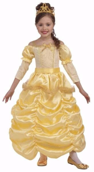 Girls Belle Costume Deluxe Yellow Princess Fancy Dress Ball Gown Child Kids S M $21.99