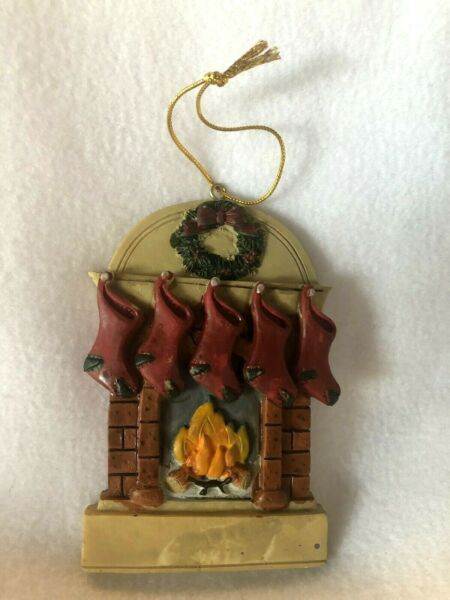 Fireplace Christmas Ornament Decoration Stockings Resin Tree family