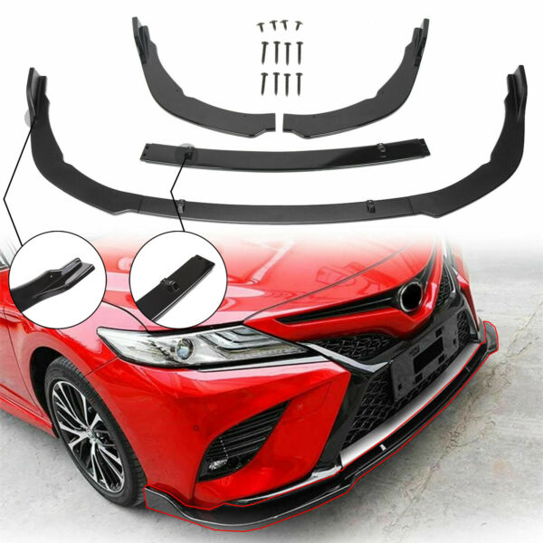 Front Bumper Lip Cover Trim For Toyota Camry 18-20 SEXSE ABS Gloss Black 3PCS