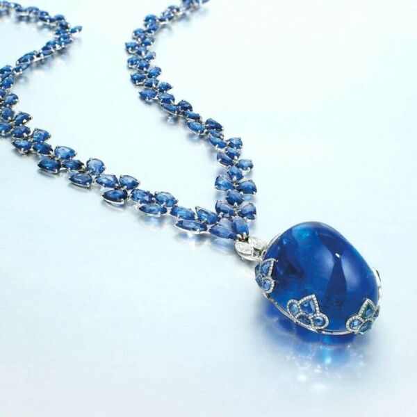 Simulated Blue Cabochon 925 Sterling Silver Necklace Women's Highend Jewelry CZ