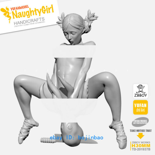 30mmH Naughty Girl Unpainted Model Kits Woman And octopus Resin Figure YUFAN GK