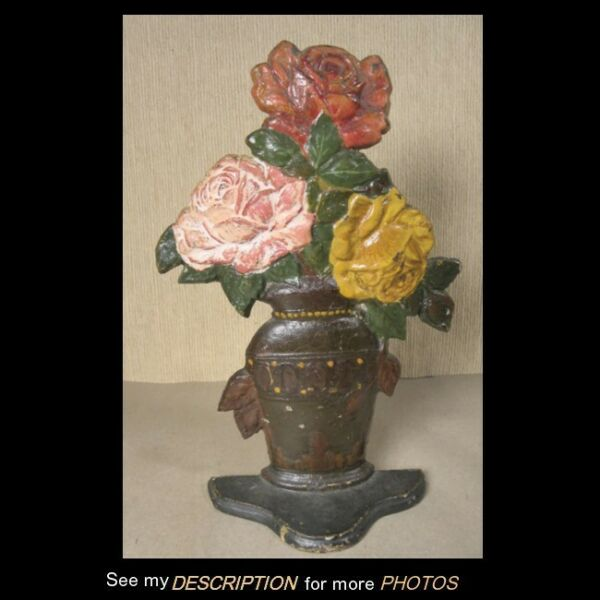 Antique Cast Iron Doorstop Roses in Urn National Foundry