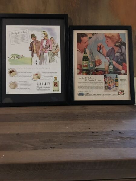 2 Framed Vintage Ads Golf Themed