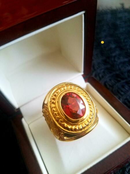MEN'S ROYAL RING SPESSARTITE  GARNET 20K YELLOW GOLD FOR ANNIVERSARY