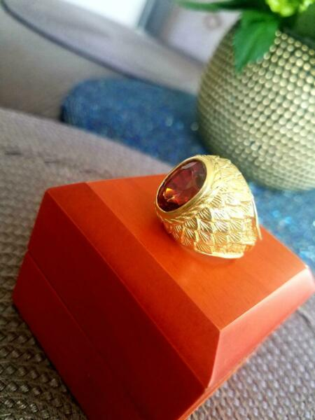 MEN'S ROYAL RING Big Spessartite Garnet 16.19 Ct GIA Gem Report 22K Yellow Gold