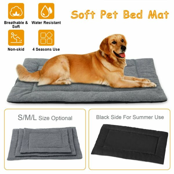Dog Bed Mat Fleece Pet Dog Crate Carpet Reversible Pad Cushion For S M L Dogs $17.41