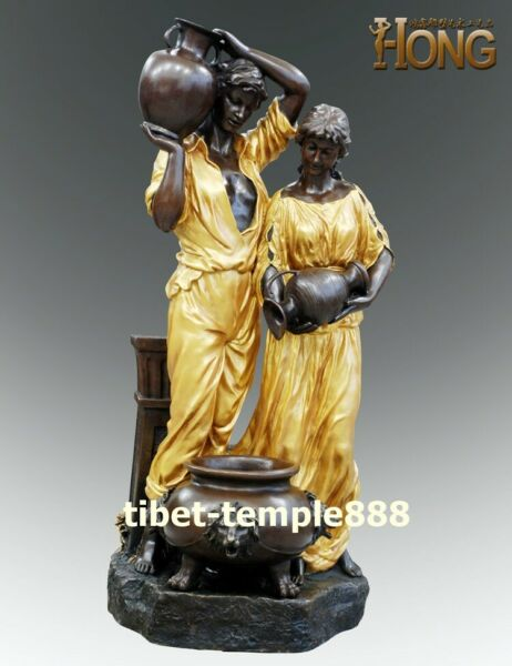 123 cm Western art deco pure bronze Young man boy women Girl fountain sculpture