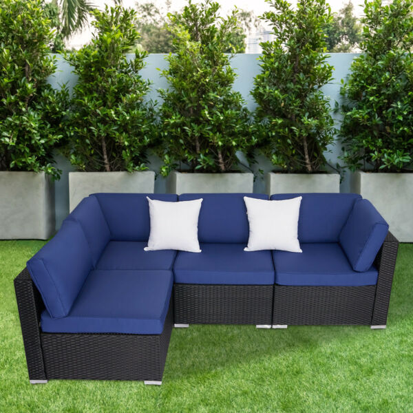 4PC Outdoor Furniture Patio Rattan Wicker Sofa Set Cushioned Couch Seat Garden $369.99