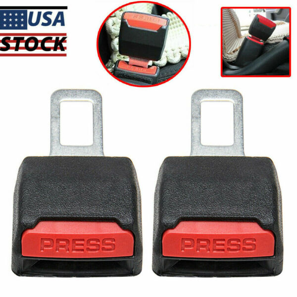 2pcs Car Safety Seat Belt Buckle Extension Extender Clip Alarm Stopp