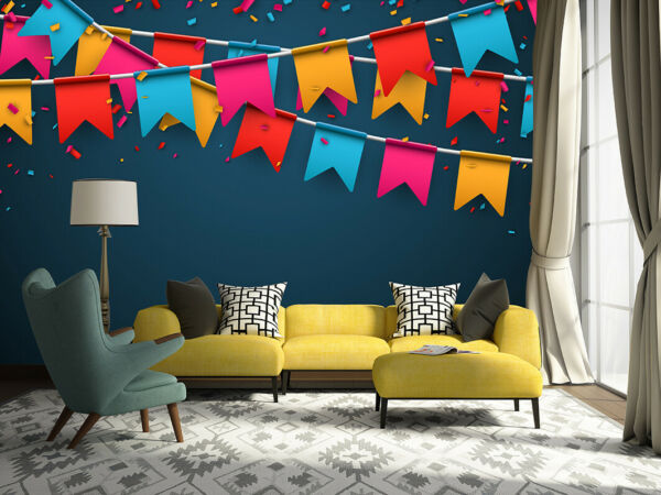 3D Bunting Color G686 Christmas Wallpaper Mural Self adhesive Removable Amy