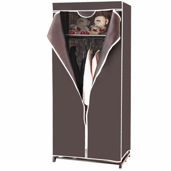 Portable Clothes Closet Non woven Fabric Wardrobe Storage Organizer Brown