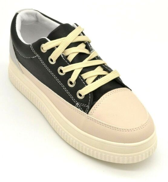 Womans Platform Sneakers Black and Beige Lace Up with White Sole NEW