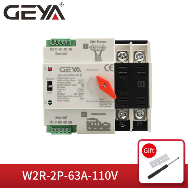 GEYA Automatic Transfer Switch 2P 63A 110V Dual Power 5060Hz Din rail