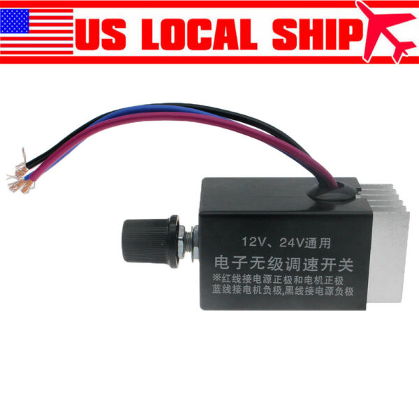 10A Car Speed Controller Switch DC Motor 12V 24V Fan Heater Control Defroster US