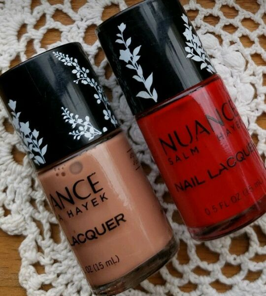 Two (2) NUANCE ~ Salma Hayek Nail Lacquer ~ Cafe Latte 335 ~ Red Ginger 510 ~ 3
