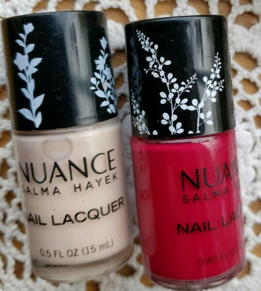 Two (2) NUANCE ~ Salma Hayek Nail Lacquer ~ Bare Kiss 320 ~ Deep Orchard 425 ~ 2