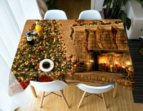 3D Fireplace Tree G664 Christmas Tablecloth Table Cover Cloth Birthday Party Amy