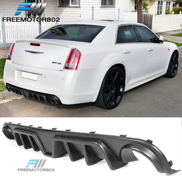 Fits 12-14 Chrysler 300 SRT Fin Rear Diffuser Bumper Lip Matte Black PP