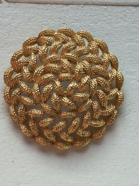 Vintage Pin Brooch Monet Domed Round Gold Tone Signed Jewelry