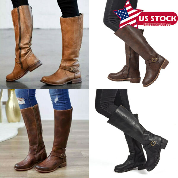 US Womens Ladies Knee High Wide-Calf Buckle Detail Zip Up Boots Shoes Size 6-9