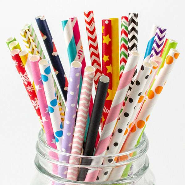US 100 200 Bulk Packed Paper Straws Pattern Color Biodegradable FDA Approved $6.32