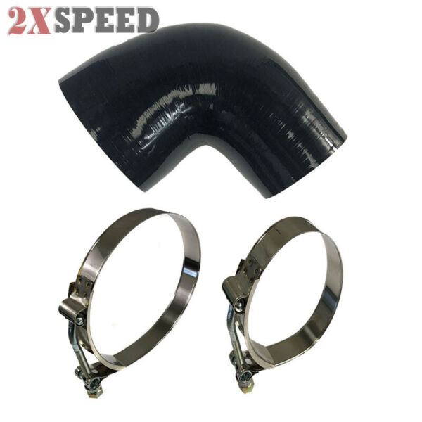 Black 4 Ply Silicone 3quot; to 4quot; Hose Coupler 90 Degree3quot; Hose Clamp4quot; Hose Clamp