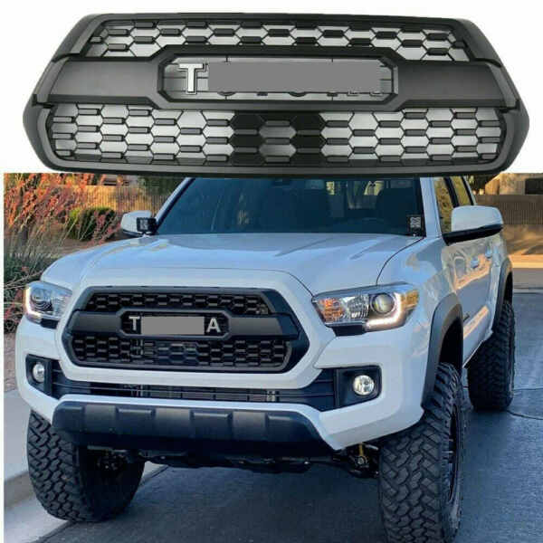 New Black Front Bumper Grille Fit For 2016-2020 Tacoma Hood Grill W Letters
