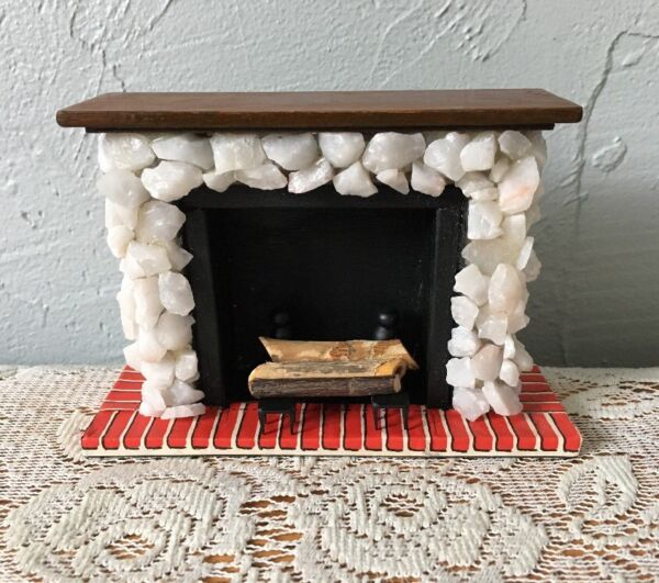 Vintage Dollhouse Miniatures Fireplace Stone Wood Faux Brick Andirons Logs