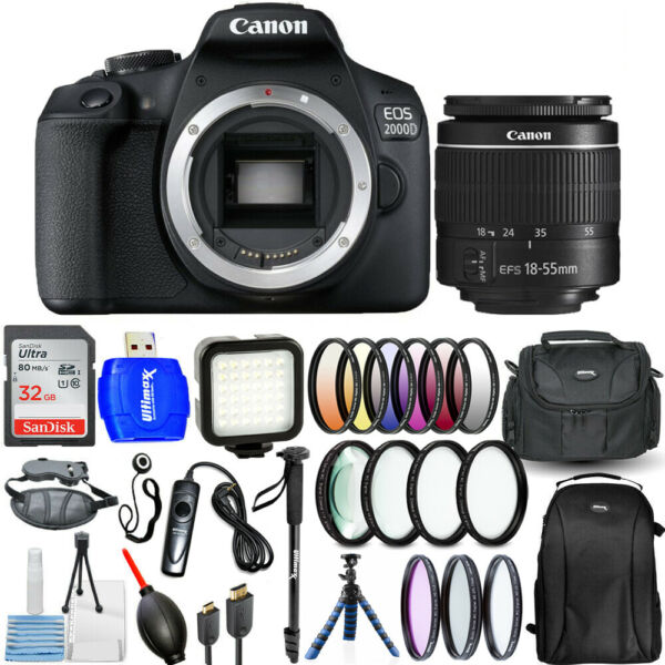 Canon EOS 2000D  Rebel T7 3 Lenses 18-55mm with 32GB Filter Kit Backpack Bundle