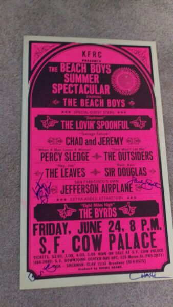 BEACH BOYS JEFFERSON AIRPLANE AUTOGRAPGED THE BYRDS BOXING STYLE CONCERT POSTER