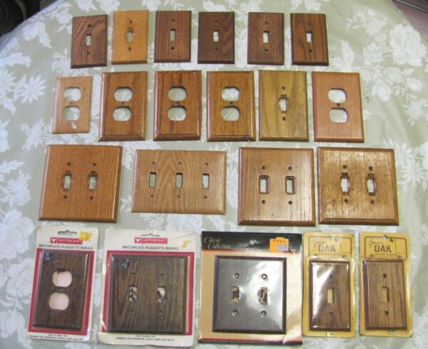 Wood Switch Plate Collection Mixed Shades of Brown amp; Oak 21 in Total C $27.99