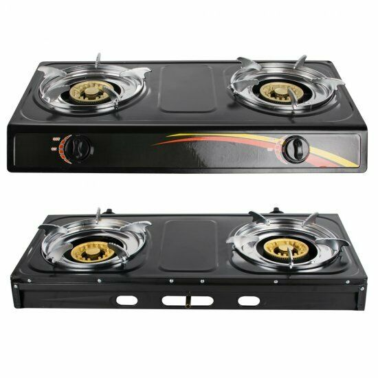 USA Portable Propane Gas Stove Double Burner Camping Cooking 2 Large Burners BBQ