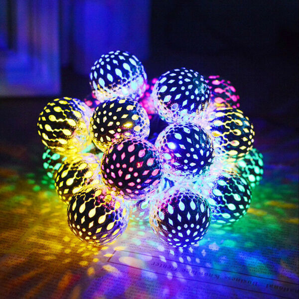 LED Moroccan Ball Solar String Lights Fairy Globe Waterproof Decorative Lights#