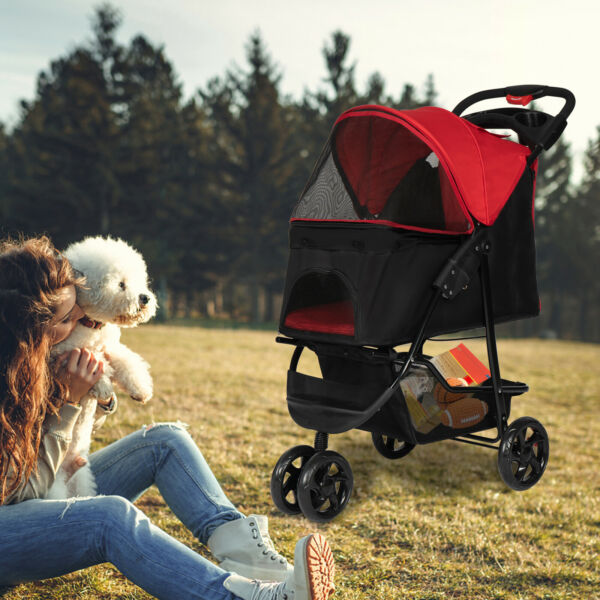 Foldable Dog Stroller Pet Travel Carriage Folding Carrier w Cup Holder 3 Wheel $109.99