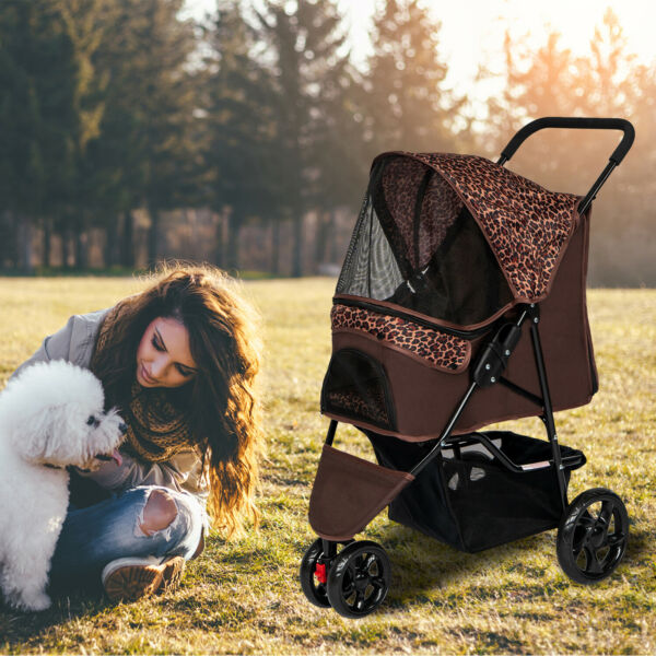 Dog Cat Stroller Cage Walk Travel Carriage Folding Carrier 3 Wheels Pet Supply $69.99