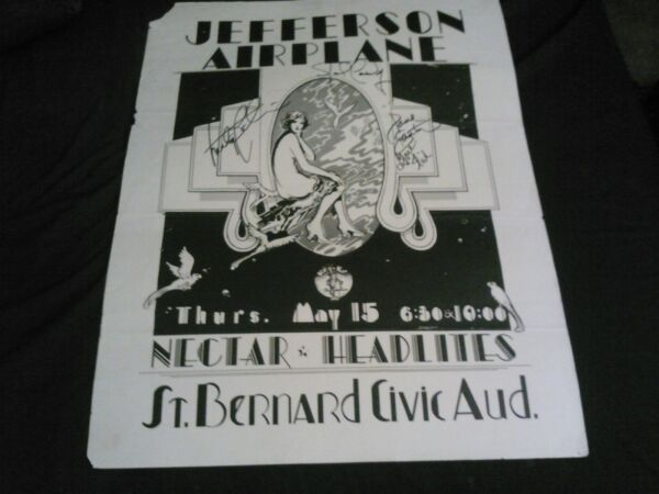 JEFFERSON AIRPLANE VERY RARE AUTOGRAPHED CONCERT POSTER BY GRACE MARTY JACK PAUL