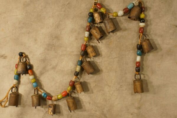 Antique Vintage India Cow Bells Hand Made Glass Beads