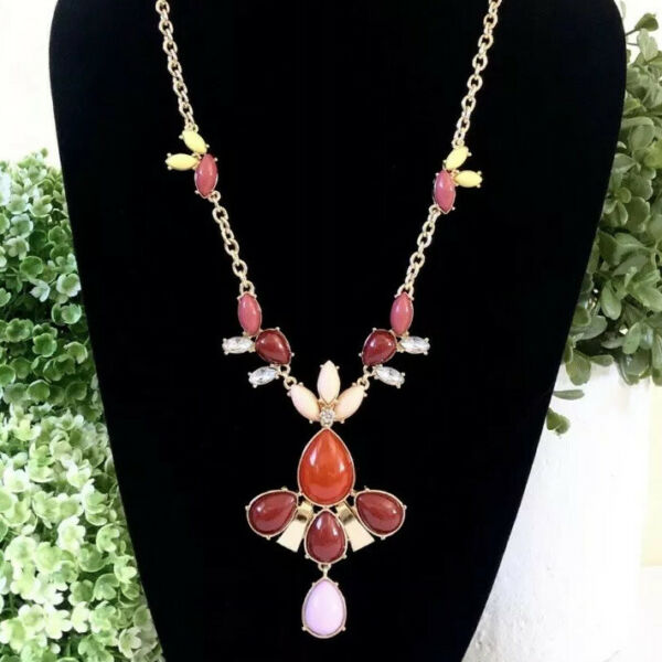 Lee Angel for Neiman Marcus Long Cabochon Statement Necklace NWT $10.00