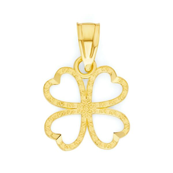 10k Real Solid Gold Four Leaf Clover Necklace Irish Jewelry Lucky Charm