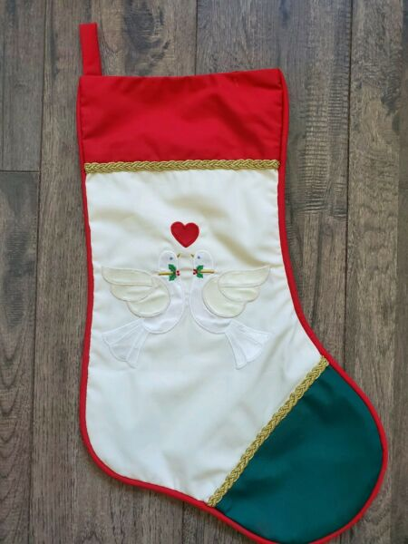 HOUSE of HATTEN Embroidered Applique Turtle Doves Heart Christmas Stocking Vtg