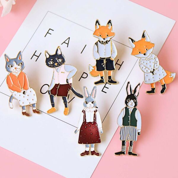 Gift For Women RabbitFoxCat Enamel Metal Lapel Badges Jewelry Brooches Pins