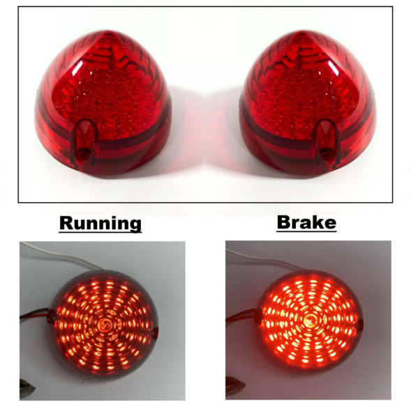 Pair LED Tail Light Inserts Brake Lamp Red Lens For 1956 Chevy Cars